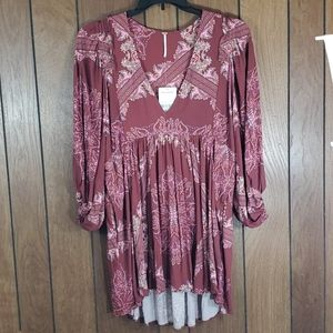 Free People Printed top with pockets